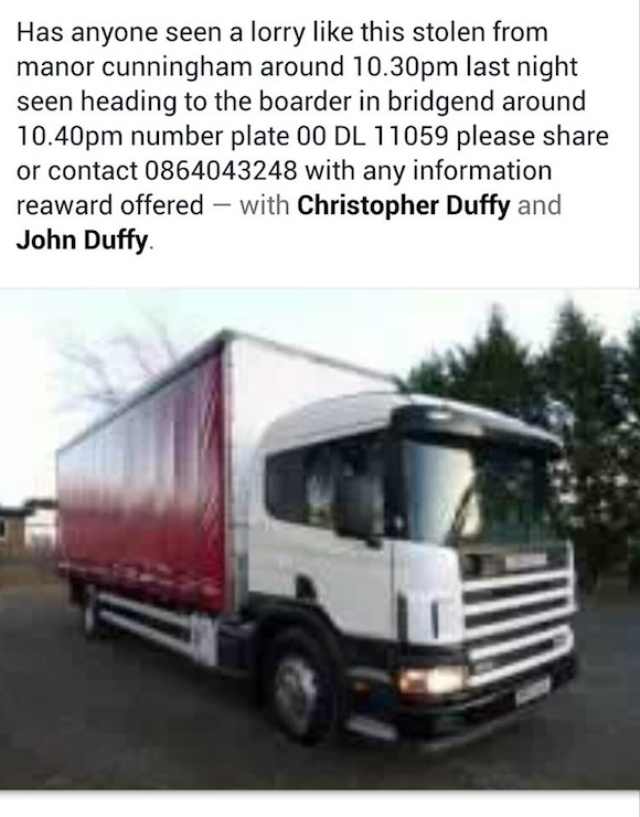 Stolen Donegal Lorry