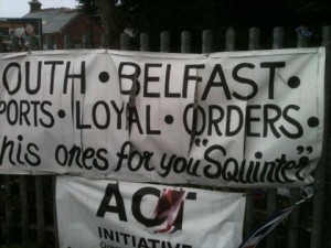 Banner at Twaddell Avenue camp attacked by republicans with knives, says local MP