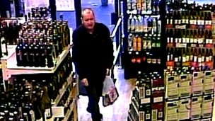 Basil McAfee shopping in an off licence on December 19 hours before he was murdered