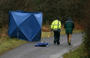 PSNI officers at the scene in Belleek on Sunday following a hit-and-run death. Pic: John McVitty