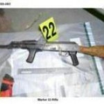 One of the four AK47 assault rifles found by police in Omagh lock up