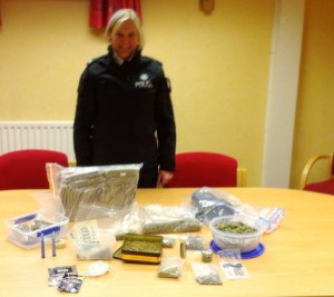 Police put on show drugs seized in house search yesterday
