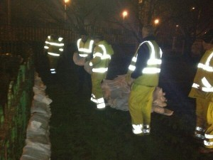 Workers preparing for floods in east Belfast