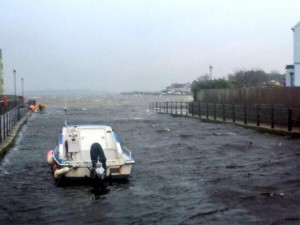High tide in Killyleagh harbour on Sunday