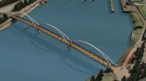 The proposed new pedestrian and cycling bridge for south Belfast