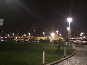 A fleet of ambulances af the Odyssey arena on Thursday night after young people fall ill
