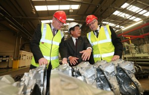 Peter Robinson and Martin McGuinness are pictured Ryobi, Chairman Hiroshi Urakami. Ryobi Aluminium Casting (UK), Limited is investing £32 million creating 100 new jobs. PIC: Presseye