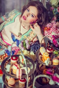 Picture by Robin Cordiner. Hair by Andrew Mulvenna. Make-up by Olivia Muldoon. Flowers by Floral Earth. Kristen wears; dress POA and lace jacket POA from The Boudoir, Dungannon. Inspiration for this look came from SS14's pastel trend which is almost good enough to eat, in the colour of pistachio, strawberry and salted caramel macaroons from Pâtisserie Mimi.
