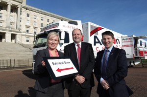 Pictured with the Minister Michelle O'Neill are Nigel Briggs, MD Musgrave Retail Partners NI and Gareth Kirk, CEO Action Cancer.