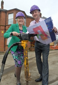 udith Hill CEO NI Hospice with Johnny McMillen Patterson from Carrickfergus who's father was cared for by the Hospice as construction works begins on the new purpose built adult hospice at Somerton Road in North Belfast.