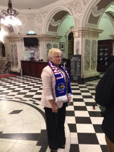 DUP councillor Ruth Patterson wore a Linfield scarf to the monthly meeting of Belfast City Council