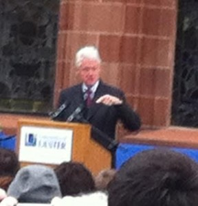 Bill Clinton addressing the crowd in Guildhall Square