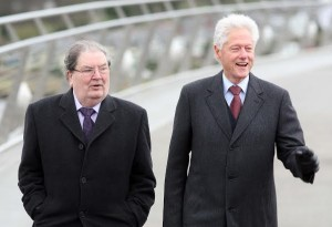 John Hume with former US President Bill Clinton today. Picture by Lorcan Doherty Photography