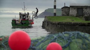 World famous cyclist Andrei Bruneii in Carnlough Harbour