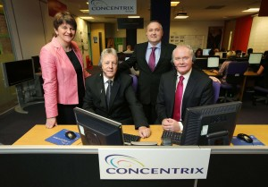 Peter Robinson and Martin McGuinness are pictured with Enterprise Minister Arlene Foster and Senior VP of Concentrix Philip Cassidy. PIC: KELVIN BOYES/PRESS EYE