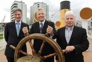 Ships Ahoy...Denis Rooney, Chairman of the Nomadic Charitable Trust welcomes First Minister Peter Robinson and Sammy Douglas MLA onboard the SS Nomadic.