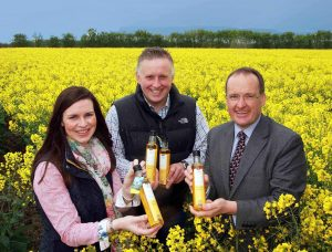 IT'S A GOLDEN PARTNERSHIP...Howard Hastings (right) from Hastings Hotels is joined by Leona and Richard Kane from Broighter Gold to launch an exclusive Rapeseed Oil with Rosemary which will be used by the chefs in the group's six hotels.