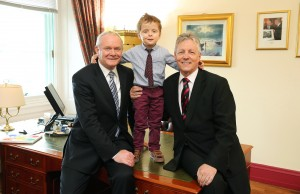 HAPPIER TIMES...Oscar Knox took over the offices of First Minister Peter Robinson and deputy First Minister Martin McGuinness at Parliament Buildings in July 2013