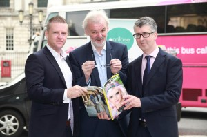Pictured (l-r) along with Tim McGarry are Managing Director of Therapie Optilase, Mark Shortt and Editor of the Ulster Tatler Chris Sherry.