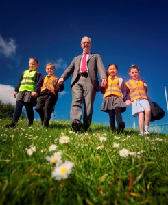 Transport Minister Danny Kennedy joined school children Rachel Lewis, Corey Otter, Etta Choi and Madison Doyle at Abbott's Cross Primary School in Newtownabbey as they put their best feet forward for Walk to School Week 2014, which is taking place this week (May 19-23).