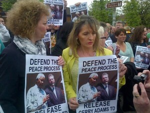 IRA bombers Caral Ni Chuilin and Martina Anderson at 'Free Gerry' rally