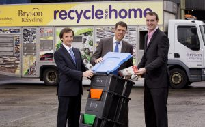 L to R- Willie Francey, Chair of Bryson Recycling Board, Eric Randall, director of Bryson Recycling and Environment Minister, Mark H Durkan MLA experience first-hand a range of innovative Bryson products that are helping to provide a pioneering approach to recycling across the UK.