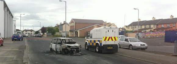 Paolo's pizza van lying burned out in the Creggan estate