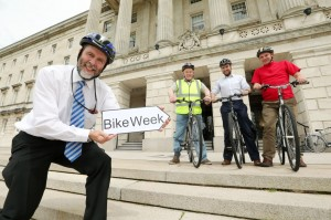 Andrew Grieve, Head of the Department for Regional Development's Cycle Unit, joined MLAs Kieran McCarthy, Chris Lyttle and Roy Beggs for the first MLA Cycle Ride from Stormont to Belfast city centre.