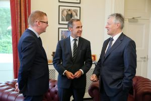 First Minister of Northern Ireland Peter Robinson (r) and Finance Minister Simon Hamilton (l) are pictured with Mark Carney, Governor of the Bank of England after their meeting at Stormont Castle in Belfast this afternoon.