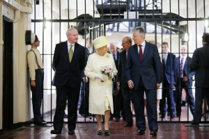 First Minister Peter Robinson and deputy First Minister Martin McGuinness with Her Majesty The Queen and His Royal Highness The Duke of Edinburgh during their visit to Crumlin Road Gaol, Belfast. Picture by Kelvin Boyes / Press Eye.