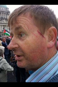 Wilie Frazer attacked by pro-Palestinian supporters at Belfast City Hall