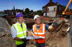 Paul McKeown, programme manager, NI Hospice Somerton House Re-Build and Liam McAuley, project manager, H&J Martin survey the progress on site at Somerton Road, Belfast where the new NI Hospice adult hospice is being built. PIC: BY WILLIAM CHERRY/PRESSEYE