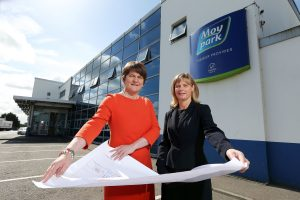Enterprise Trade and Investment Minister Arlene Foster is pictured with Janet McCollum, Chief Executive of Moy Park, after announcing a £170m expansion by the company that will provide 628 new jobs across three sites:PIC: BY KELVIN BOYES/PRESSEYE