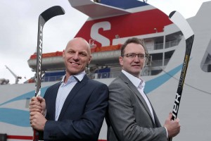 A GIANT DEAL:  Steve Thornton, Head of Hockey Operations at the Stena Line Belfast Giants and Neil Palmer, Marketing Manager at Stena Line celebrate after the leading ferry company announce that it will once again become the ice hockey team's title sponsor for the fourth successive year.