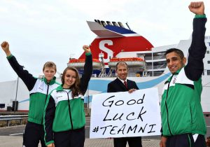 STENA LINE WISHES TEAM NI THE FERRY BEST: . Pictured are Claire Oakley who will represent NI in cycling, India McPeak, gymnastics and Norik Koczarian, wrestling.