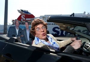 The outrageous Mrs Brown (aka actor, Robert McGregor) joined Morgan Freeman and Liam Neeson at Stena Line recently