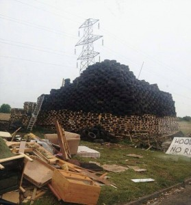 The monster bonfire in Carrick stacked high with tyres