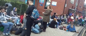 Fans queuing for MTV tickets this morning
