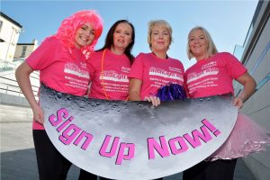 Suzanne O'Loughlin, left, Action Cancer Events Assistant, pictured with SuperValu representatives, from left, Audrey Hamilton, Long's SuperValu store, Alison Williamson, Shantallow SuperValu, and Sarah Doherty, Waterloo Place SuperValu, as they launch the SuperValu Moonlight Walk 2014
