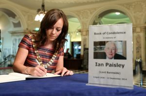 Lord Mayor of Belfast Cllr Nichola Mallon signs a book of condolence at Belfast City Hall in memory of former DUP leader and First Minister Rev Ian Paisley. PIC: KELVIN BOYES/PRESSEYE