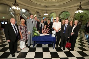 Lord Mayor of Belfast Cllr Nichola Mallon along with other Belfast Councillors, sign a book of condolence at Belfast City Hall in memory of former DUP leader and First Minister Rev Ian Paisley. PIC: KELVIN BOYES/PRESSEY