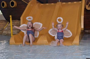 HAVEN SENT: Lucy (7) and Tilly (3) Hunniford behave like two little angels as they get ready for their Haven Holiday in association with Stena Line.