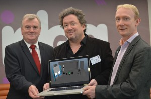 John Fillwalk (centre), Director of the acclaimed Institute for Digital Intermedia Arts at Ball State University in Indiana, delivered a two-day workshop on the potential of interactive and virtual technologies to help transform rural learning in Northern Ireland. Mr Fillwalk is pictured with Malachy McAleer, Director SWC; and Mark Jenkins, Mandatory Training and e-Learning at the Western Health and Social Care Trust.