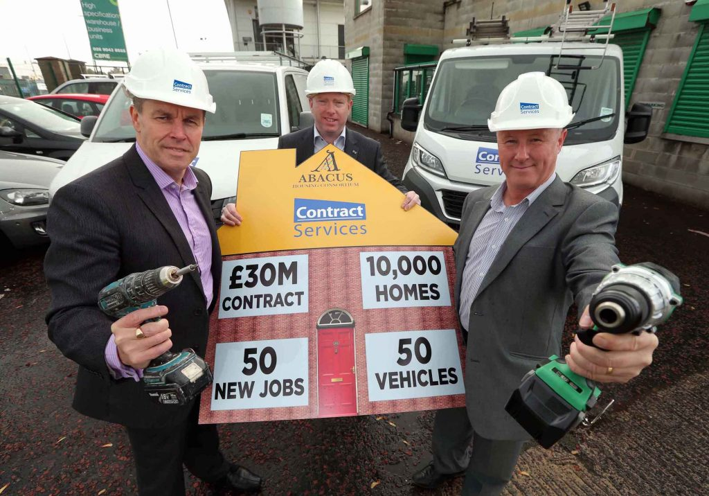 Rory McNaughton (centre), Danny McLean (right) and Paul Kane (left) of Belfast-based installation and maintenance company Contract Services have announced the creation of up to 50 new jobs in Northern Ireland after securing a £30 MILLION contract from the Abacus Housing Consortium,