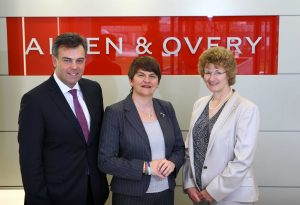 Enterprise, Trade and Investment Minister Arlene Foster is pictured with Jane Townsend, Head of Allen & Overy's Legal Services Centre, and Invest NI Chief Executive Alastair Hamilton. PIC: WILLIAM CHERRY/PRESSEYE