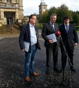 Ian Paisley jnr talks to the media after his meeting with Stormont ministers