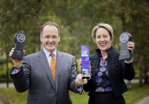 NITB chairman Howard Hastings and Chief Operating Officer Kathryn Thomson celebrate winning the NI Travel and Tourism award for Best Tourist Board along with two additional awards for delivery of the Giro d'Italia.