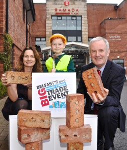 Event Director, Karen McAvoy and Managing Director of the Construction Employer's Federation, John Armstrong are pictured with Luke McAvoy as they launch Northern Ireland's very first Building and Design Trade Show.