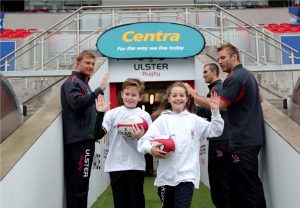 Pictured at the announcement are Ulster Rugby stars Ruan Pienaar, Roger Wilson and Franco van der Merwe with young fans Adam Stafford and Amy-Lee Forrest. PIC: DARREN KIDD/PRESSEYE
