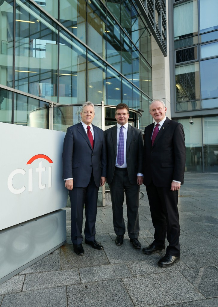 First Minister Peter Robinson and deputy First Minister Martin McGuinness are pictured with James Bardrick, Citi Country Officer, United Kingdom. Picture by Kelvin Boyes / Press Eye.
